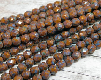 6mm - Firepolish Beads - Picasso Beads - Round Beads - Czech Glass Beads - Faceted Beads - Fire Polished Beads - 25pcs - (B342)