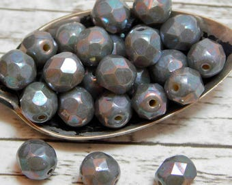 6mm - Fire Polished Beads - Czech Beads - Round Beads - Grey Beads - Faceted Beads - 25pcs (960)