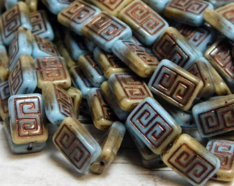 12x9mm - Picasso Beads - Czech Glass Beads -Greek Key - Rectangle Beads - Rustic Beads - Czech Beads - 10pcs - (2942)