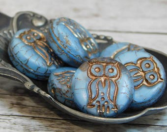 6pcs - 13mm - Czech Glass Owl - Owl Beads - Czech Glass Beads - Owl Coin - Coin Beads - Matte Beads - Picasso Glass - (1105)