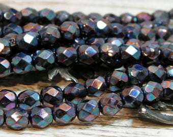 6mm - Fire Polished Beads - Czech Beads - Round Beads - Faceted Beads - Czech Glass - Glass Beads - 25pcs (2889)