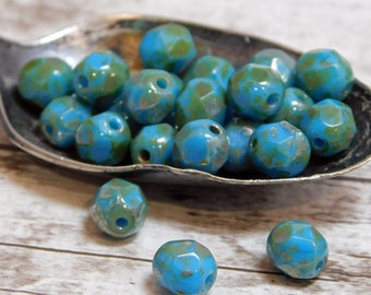 6mm - Picasso Beads - Czech Glass Beads - Fire Polished Beads - Round Beads - Blue Turquoise - 25pcs (3196)