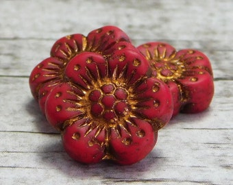 12pcs 14mm Wild Fllower Czech glass beads NEW!! flower disc beads