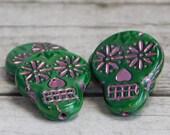 Sugar Skull Beads - Czech Glass Beads - Dia De Los Muertos - Czech Beads - Skull Beads - 4pcs - 20x17mm - (5305)