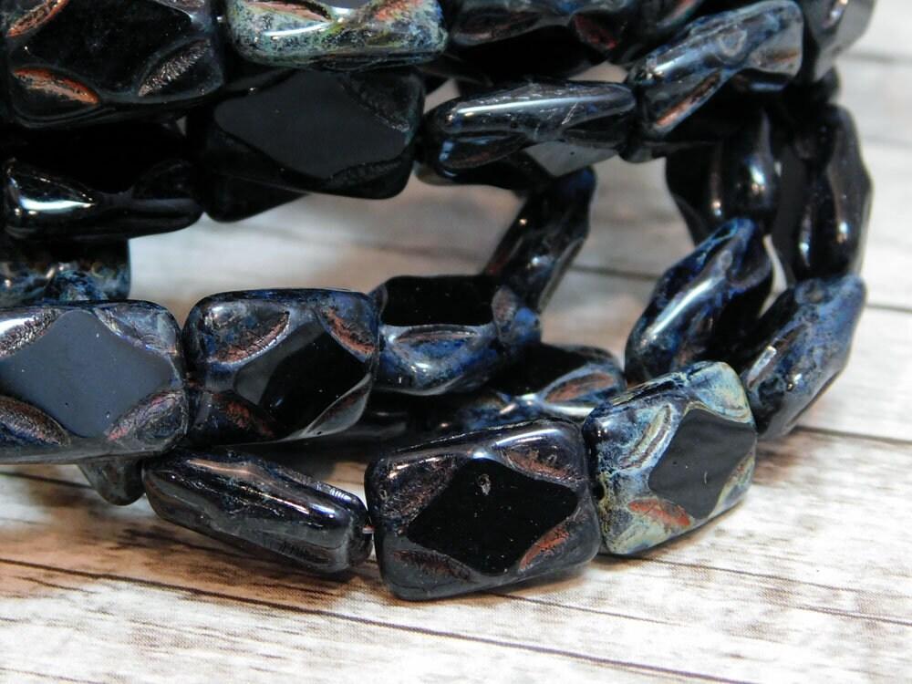 10pcs 12x8mm Table Cut Rectangle Beads Czech Glass CHOOSE COLOR