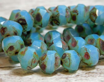 8mm - Picasso Beads - Czech Glass Beads - Central Cut Beads - Round Beads - 8mm Round - Czech Beads - 10pcs - (210)