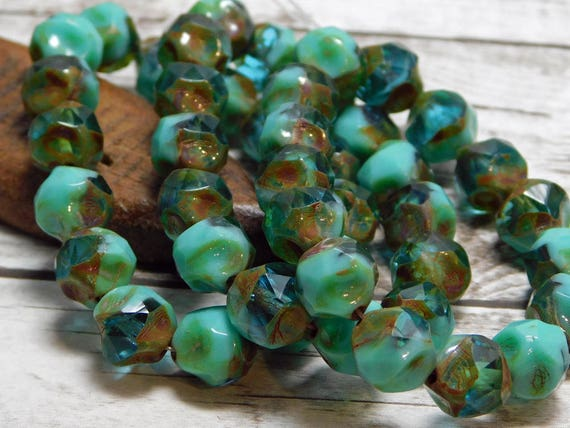 9mm Picasso Beads Central Cut Beads Czech Glass Beads Etsy