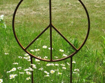 Peace Sign twenty two inch diameter and 4 1/2 feet tall- Rustic Garden Sculpture