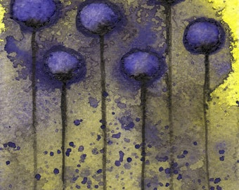 """5x7 """"Misunderstood"""" Purple Yellow Watercolor Flower Painting, Abstract Floral Print, Fine Art, Wall Decor, Urban Farmhouse, Complementary"""