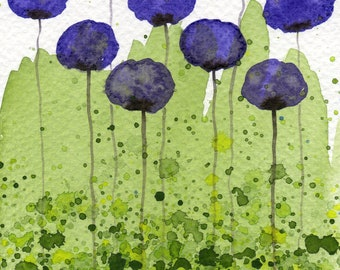 "5x7 ""Sweet Memories"" Purple Green Watercolor Flowers, Watercolor Painting, Wall Decor, Fine Art Print, Office Desk, Poppy Painting"
