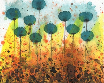 Teal Yellow Orange, Watercolor Flower Painting, Vibrant Art, Colorful Painting, Fine Art, Giclee Print, Floral Garden Landscape, Abstract