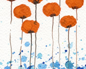 5x7 Orange Poppies, Watercolor Painting, Watercolor Flowers, Orange Blue, Wall Decor, Fine Art Print, Modern Farmhouse Home Office Wall Art