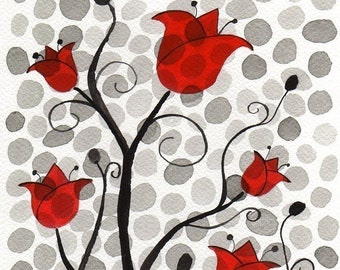 ACEO Midcentury Art Print, Red Black White, Watercolor Painting, Watercolor Flowers, Floral Art, Mid Century, Polka Dot Flowers, Scarlet Red