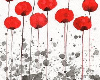 "Red Black White ""Happy Memories"" Modern Farmhouse Art, Wall Decor Watercolor Flowers, Watercolor Painting, Floral Garden Landscape, Fine Art"