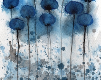 """Blue Gray """"Head in the Clouds"""" Watercolor Flowers, Watercolor Painting, Wall Decor, Fine Art Print, Modern Farmhouse, Office Decor, Moody"""