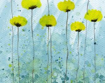 "Watercolor Flowers ""Sea Spray"" Yellow Aqua, Watercolor Painting, Landscape, Garden Art, Watery Blue, Wall Decor, Fine Art Print, Home Office"