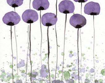 Purple Modern Farmhouse Art Print Nursery Art Watercolor Painting Watercolor Flowers Painting Landscape Purple Flowers Garden Violet 11x14