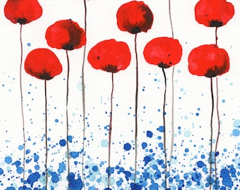 Bright and Sunny Day, Red Poppies, Watercolor Flowers, Red Blue Aqua, Watercolor Painting, Poppy Painting Modern Floral Landscape, Farmhouse