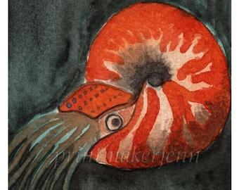 Orange Nautilus Ocean Art Coastal Art Beach House Decor Art Sea Life Fish Watercolor Painting Watercolor Illustration Orange Wall Art Print