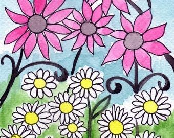 Watercolor Painting: Watercolor Flower Painting -- Art Print --  Pink Flower White Flower -- 5x7