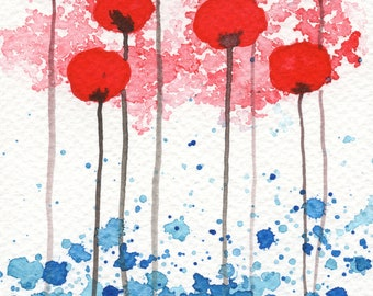 5x7 Watercolor Painting, Red Watercolor Flowers, Scarlet Red Flowers, Red White Blue, Modern Art, Fine Art Print, Farmhouse, Wall Decor