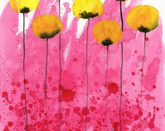 Watercolor Painting: Watercolor Flower Painting -- Art Print --  Pink Lemonade -- Yellow Flowers on Pink -- 11x14