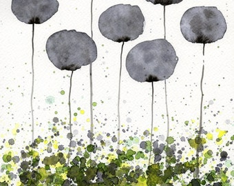 Green Gray Black and White Modern Farmhouse Wall Art Wall Decor Landscape Painting Gray Green Abstract Art Watercolor Painting Floral Garden