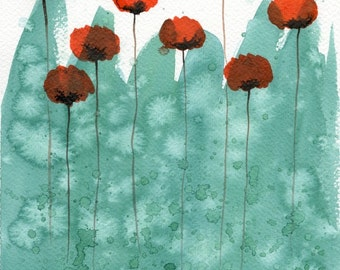 Watercolor Flower Painting - Watercolor Painting - Giclee - Floral Garden Landscape