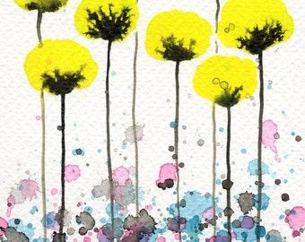 5x7 Yellow Poppies, Watercolor Flowers, Watercolor Painting, Fine Art Print, Yellow Pink Aqua, Nursery Art, Baby Girl, Wall Decor, Vibrant