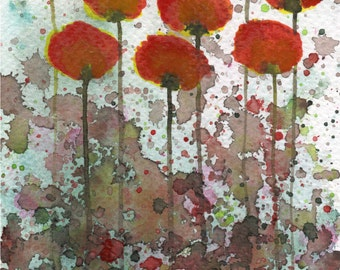 Watercolor Painting: Watercolor Flower Painting -- Art Print --  Only You to Blame  -- Orange Flowers -- Red Flwoers -- 5x7