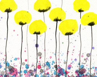 Watercolor Painting: Watercolor Flower Painting -- Art Print --  Warm Breeze -- Yellow Flowers -- 11x14