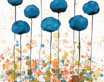 Teal Orange Modern Farmhouse Aqua Blue Watercolor Flowers Painting Watercolor Painting Teal Landscape Painting Wall Decor Wall Art Print