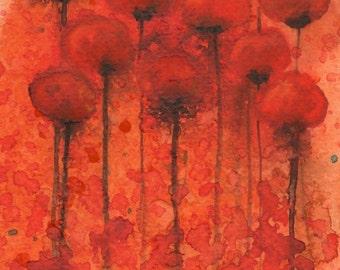 Watercolor Painting: Watercolor Flower Painting -- Art Print --  Copper Penny -- Orange Flowers -- 5x7