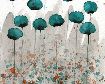 LARGE Print Teal Gray Modern Farmhouse Flowers Gray Teal Watercolor Painting Watercolor Art Print Blue Gray Teal Watercolor Flowers Wall Art