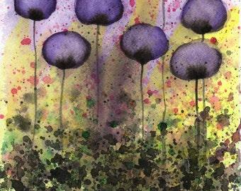Dead Flowers Dark Flowers Abstract Painting Purple Abstract Art Watercolor Flower Painting Watercolor Painting Floral Garden Landscape Decor