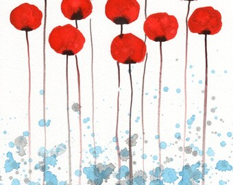 Red Modern Farmhouse Flowers Painting Watercolor Painting Flower Painting Rustic Decor Art Print Red White Blue Flowers Wall Decor 11x14