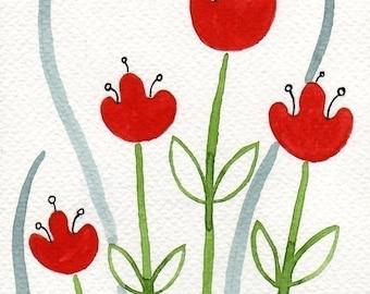 ACEO Mini Art Print, Midcentury Decor, Red Tulips, Scandinavian Poppy Print, Watercolor Painting, Watercolor Flowers, Floral Art, Modern