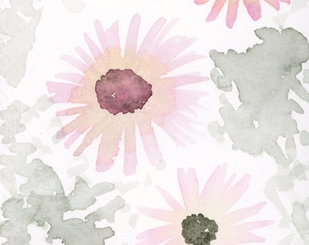 5x7 Pink Daisies, Watercolor Flowers, Watercolor Painting, Floral, Art Print, Pink and Gray, Blossoms, Wall Decor, Nursery Art, Girl Bedroom