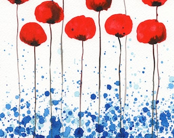 5x7 Red Poppies, Watercolor Painting, Bright Red Flower Painting, Floral Art Print, Red Flowers, Wall Decor, White Blue, Farmhouse Kitchen