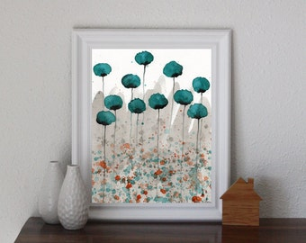 Teal Watercolor Flowers Teal Watercolor Painting Teal Poppy Painting Modern Floral Landscape Aqua Gray Painting Teal Orange Gray Art