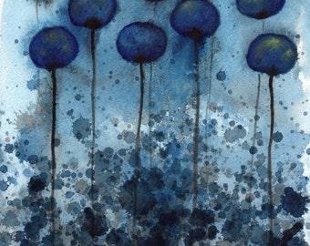 Dark Blue Modern Farmhouse Flowers Painting Navy Blue Watercolor Flower Painting Wall Art Print Night Garden Midnight Blue Flowers 11x14