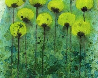 "Yellow Green ""Underwater Flowers"" Watercolor Flowers, Watercolor Painting, Fine Art Print, Wall Art, Wall Decor, Modern Floral Landscape"