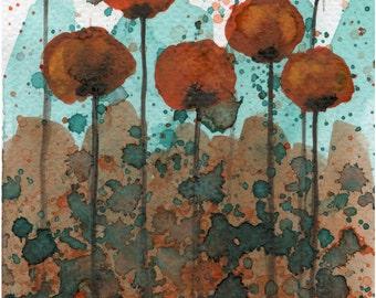 Watercolor Painting: Watercolor Flower Painting -- Art Print --  Marma-Lady  -- Orange Flowers -- 5x7
