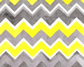 Yellow Gray Chevrons, Watercolor Painting, Abstract Art, Geometric Art, Triangles, Fine Art Print, Sunshowers, Wall Decor, Zig Zags, Zigzag