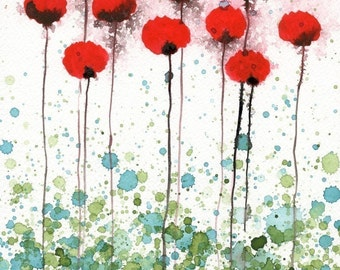 Red Modern Farmhouse Flowers Painting Woodland Nursery Art Print Bedroom Decor Watercolor Painting Aqua Red Landscape Red Poppies Wall Art
