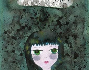 Watercolor Painting: Watercolor Illustration -- Art Print --  Raining Down on Me -- 11x14