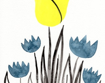 Watercolor Painting: Watercolor Flower Painting -- Art Print --  Scandinavian Flowers in Yellow and Blue -- 11x14