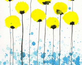 "5x7 ""Lovely Lady"" Yellow Flowers, Yellow Aqua Blue, Watercolor Painting, Watercolor Flowers, Yellow Poppies, Fine Art Print, Lemon Yellow"