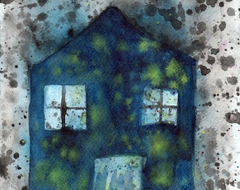 Watercolor Painting - Watercolor Illustration - Abstract Art - Giclee Art Print --  Dream House -- 8x10