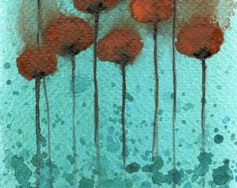 Watercolor Painting: Watercolor Flower Painting -- Art Print --  Tropical Shadow -- Orange Flowers -- 5x7